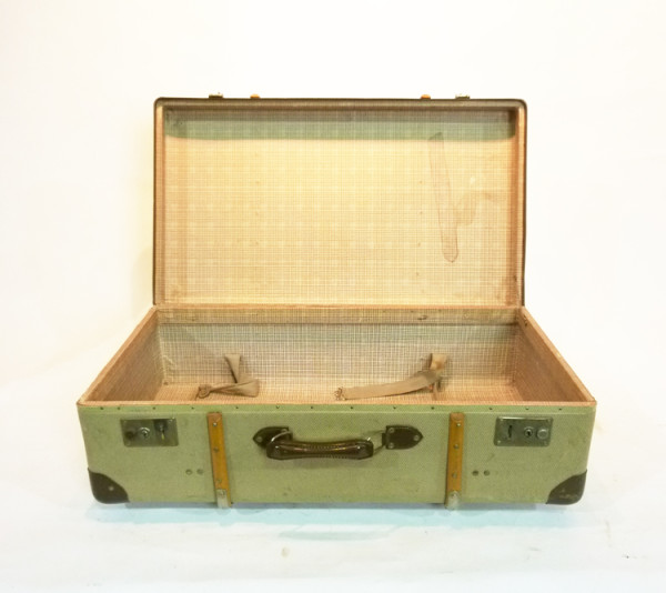 4: Yellow Canvas with Wood Finish Suitcase