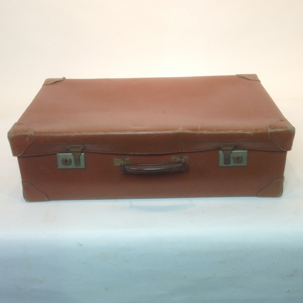 1: Medium Light Brown Leather Suitcase