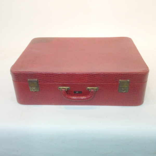 1: Red Crocodile Skin Soft Shell Suitcase