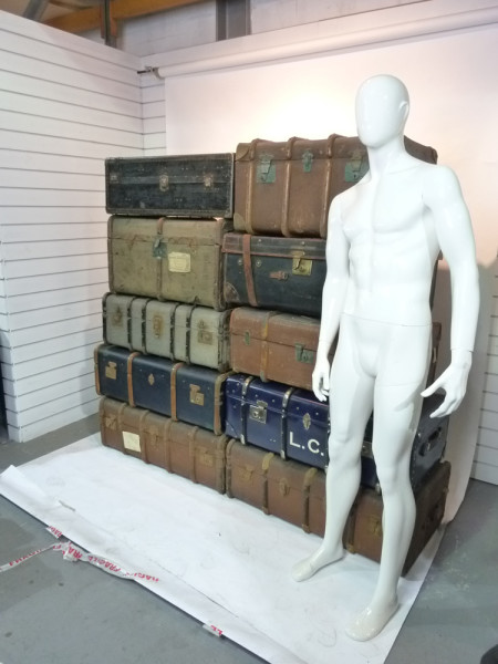 2: Stack of Various Large Vintage Travel Trunks