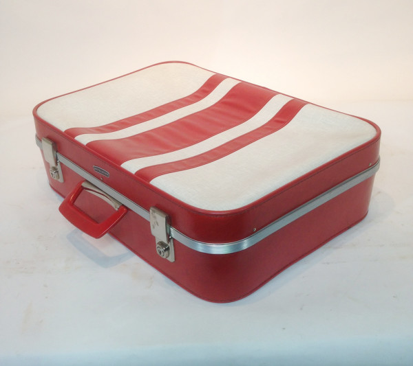 3: White with Red Stripes Soft Shell Retro Suitcase