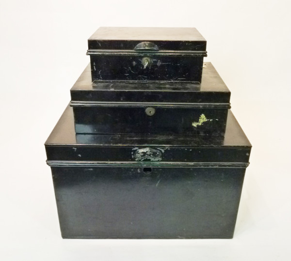 1: Stack of Small Black Matching Metal Chests
