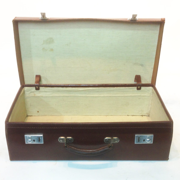 2: Dark Brown Leather Suitcase