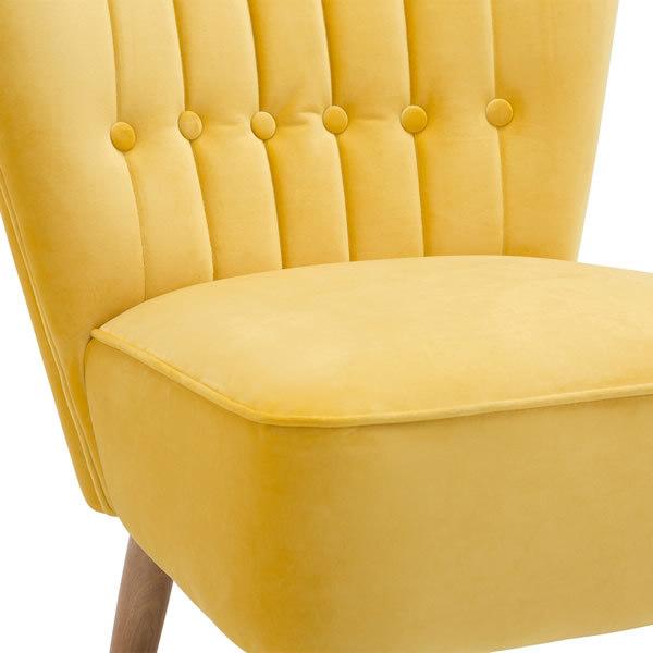 5: Velvet Cocktail Chair - Yellow