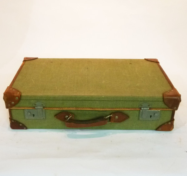 1: Green Canvas with leather Trim Vintage Suitcase