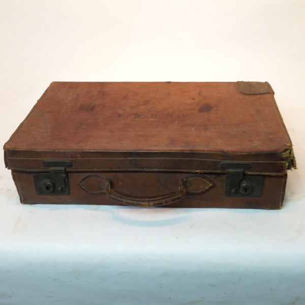 1: Brown Leather Vintage Suitcase with Initials