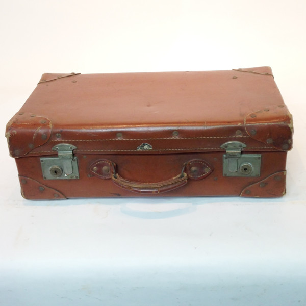 5: Light Brown Leather Suitcase