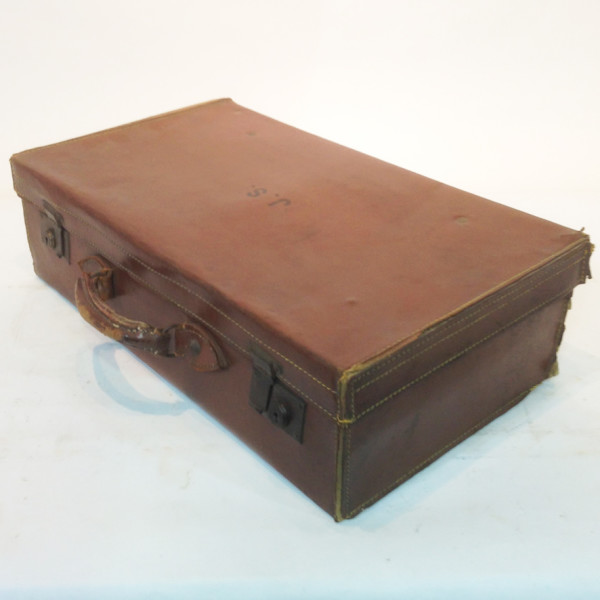 3: Brown Leather Suitcase with Initials