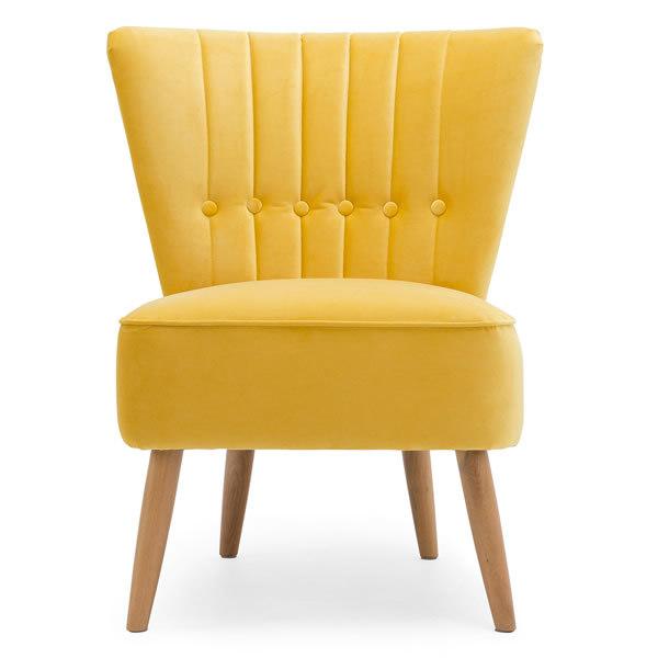 1: Velvet Cocktail Chair - Yellow