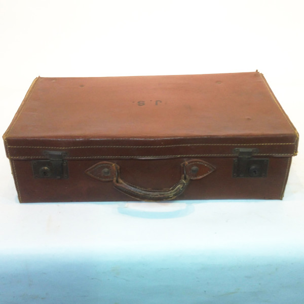 1: Brown Leather Suitcase with Initials