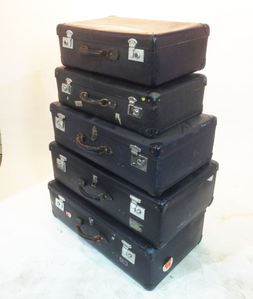 3: Stack of Matching Navy Blue Vintage Suitcases