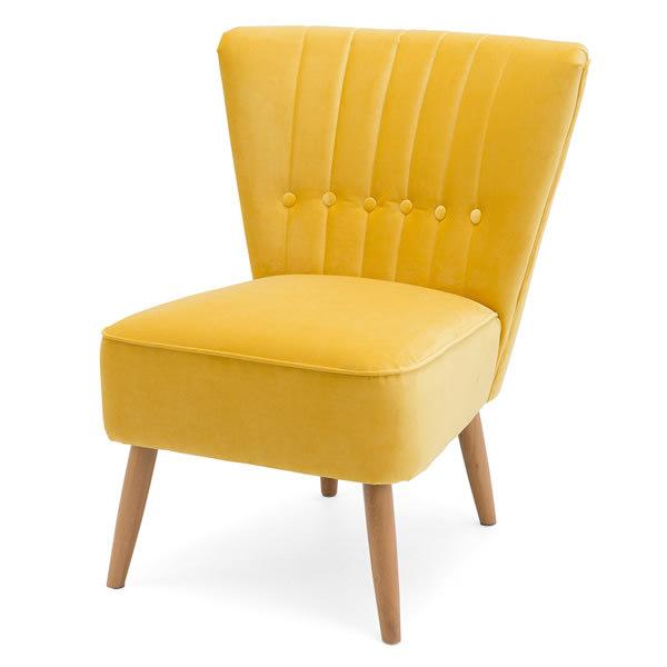 3: Velvet Cocktail Chair - Yellow