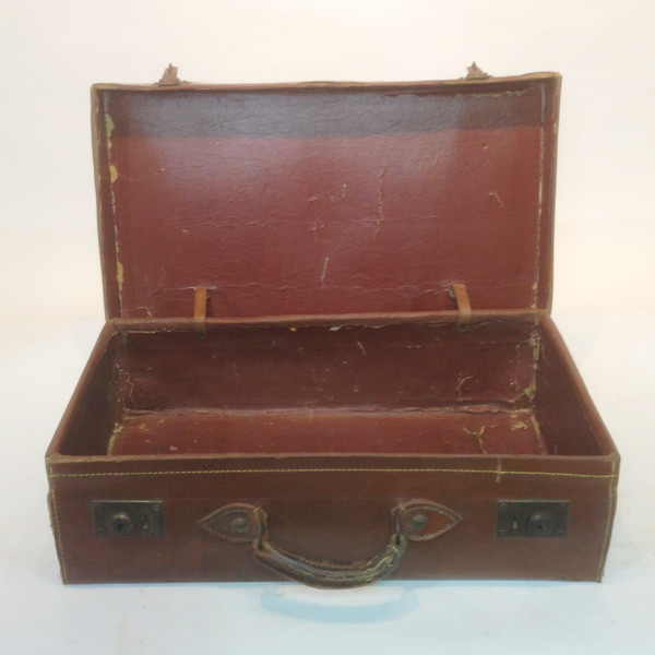 2: Brown Leather Suitcase with Initials