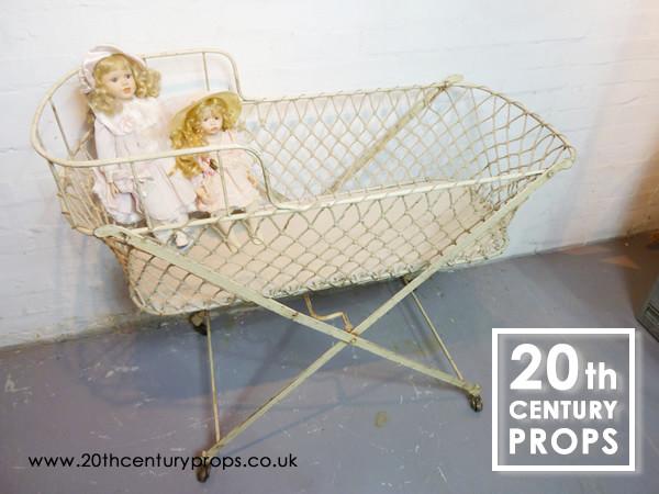 1: 1940's folding metal child's cot