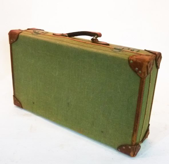 3: Green Canvas with leather Trim Vintage Suitcase