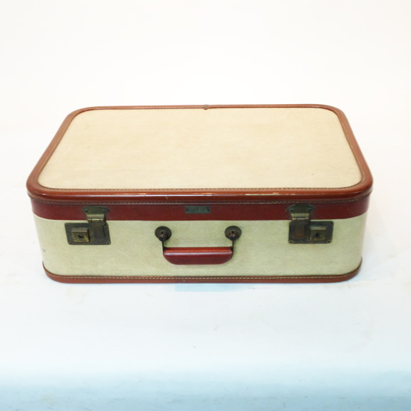 1: White with Red Trim Retro Suitcase