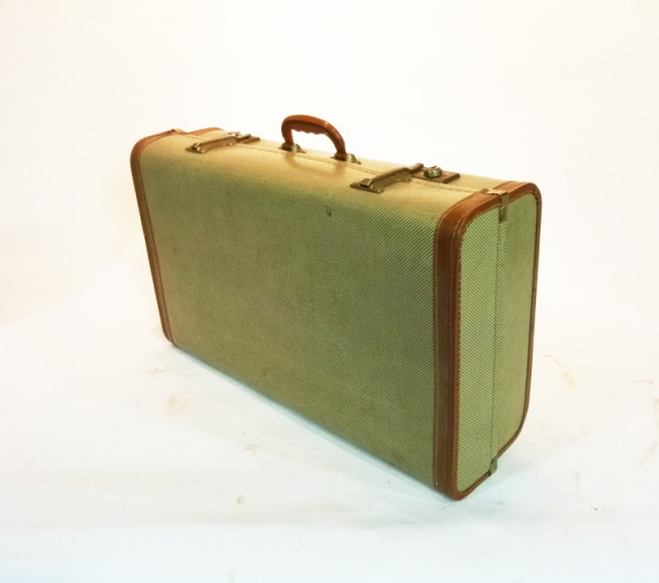 3: Cream Wood Finish Suitcase