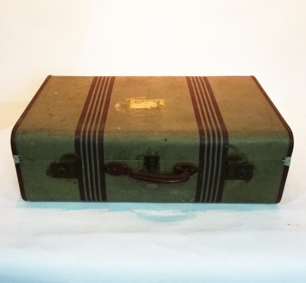 1: Green with Brown Stripes Suitcase