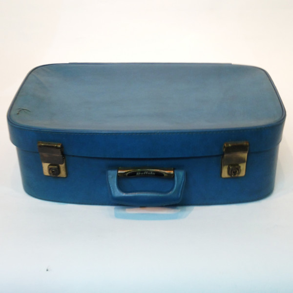 1: Large Blue Soft Leather Suitcase