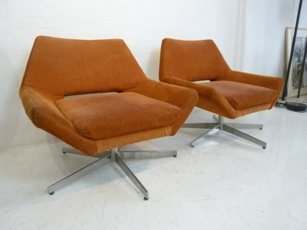3: Orange Retro Low Lounger Chair