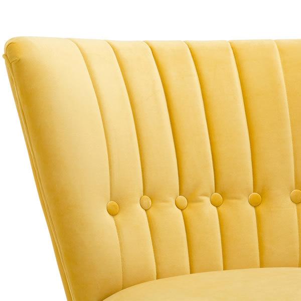 6: Velvet Cocktail Chair - Yellow
