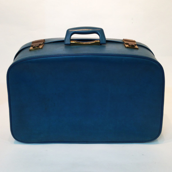 4: Large Blue Soft Leather Suitcase