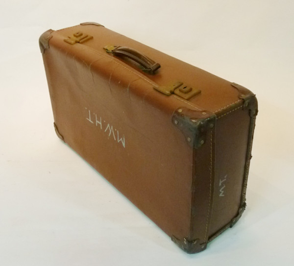 2: Light Brown Leather Suitcase with Initials