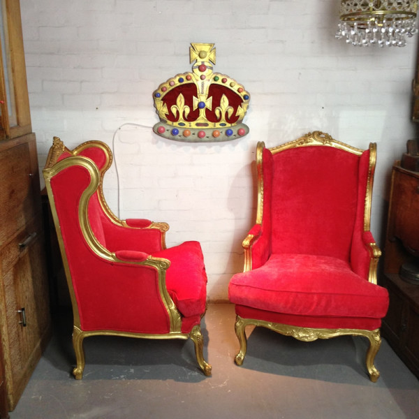 2: Red velvet and gold throne chairs