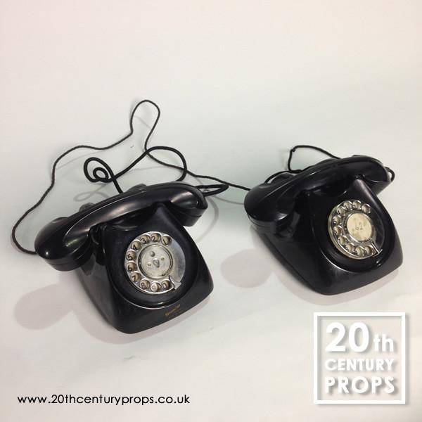 1: Pair of vintage bakelite GPO  telephones