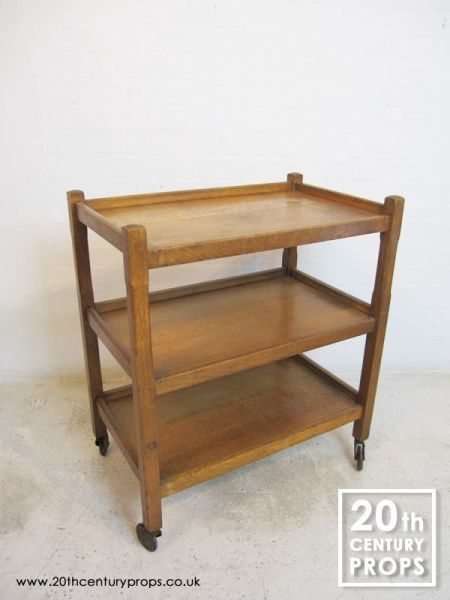 1: 3 tier oak hostess trolley
