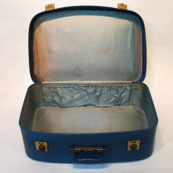 2: Large Blue Soft Leather Suitcase