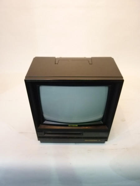 2: Black Portable TV Monitor with VHS Player