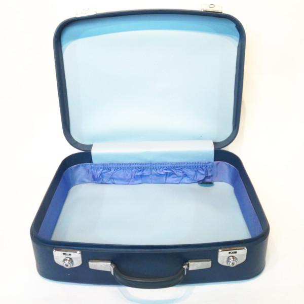1: Blue Soft Leather Medium Suitcase