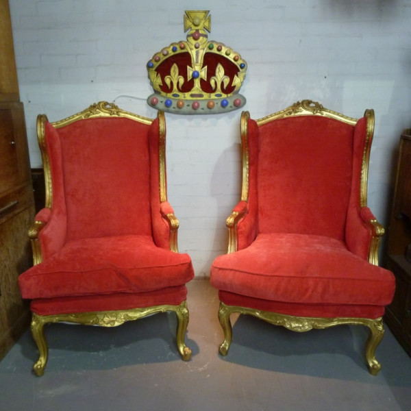 3: Red velvet and gold throne chairs