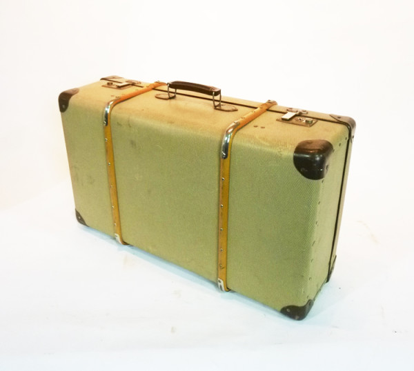 5: Yellow Canvas with Wood Finish Suitcase