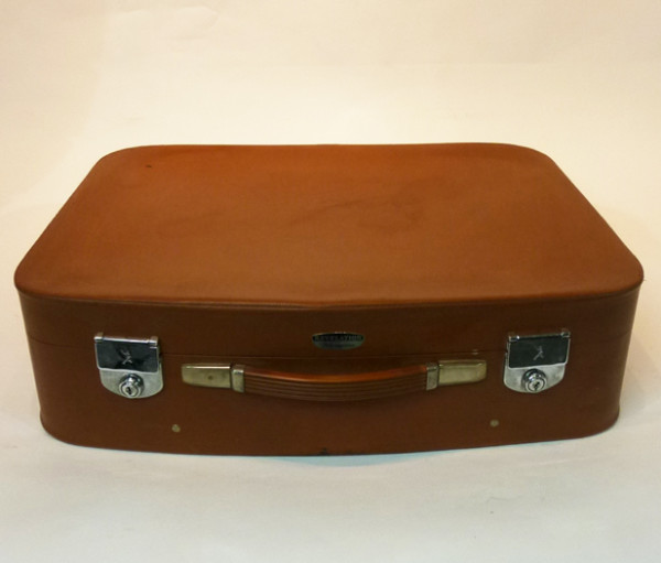 1: Brown Soft Leather Retro Suitcase