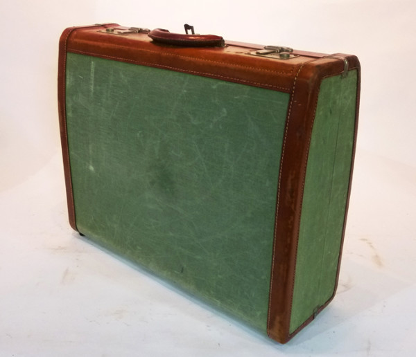 3: Green Canvas and Leather Vintage Suitcase