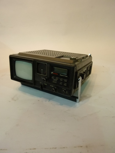 4: Black Mini Mini Portable 1980's TV