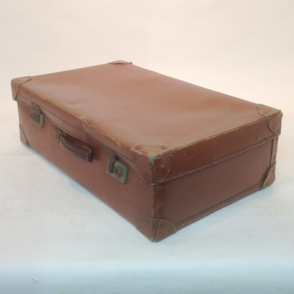 3: Medium Light Brown Leather Suitcase