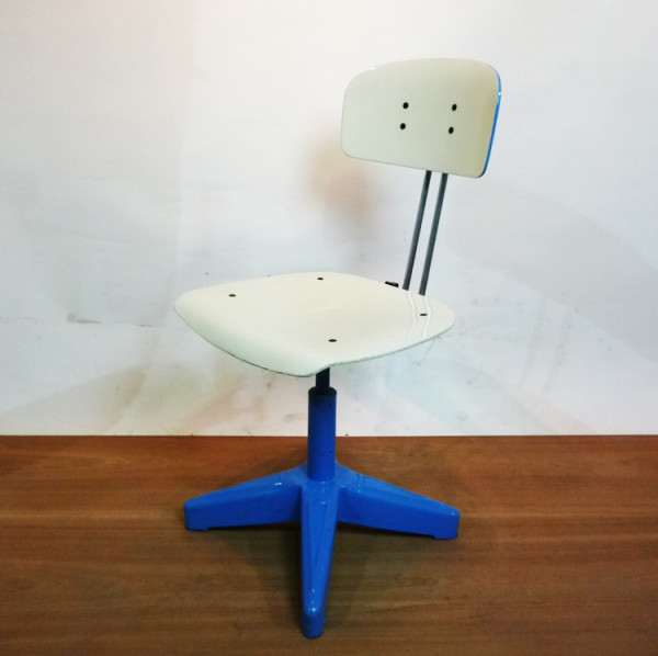 3: Blue and White Industrial Chair