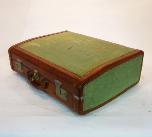 2: Green Canvas and Leather Vintage Suitcase