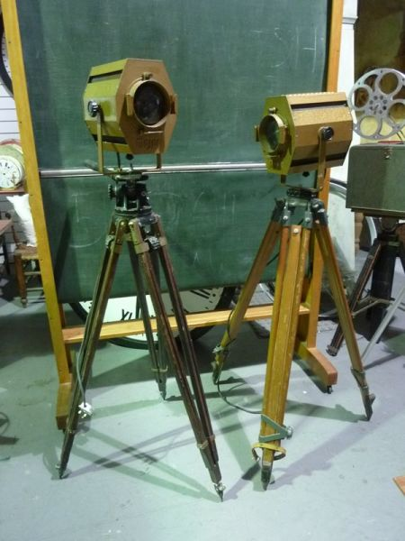 1: Vintage 'MAJOR' Spotlights on wooden tripods