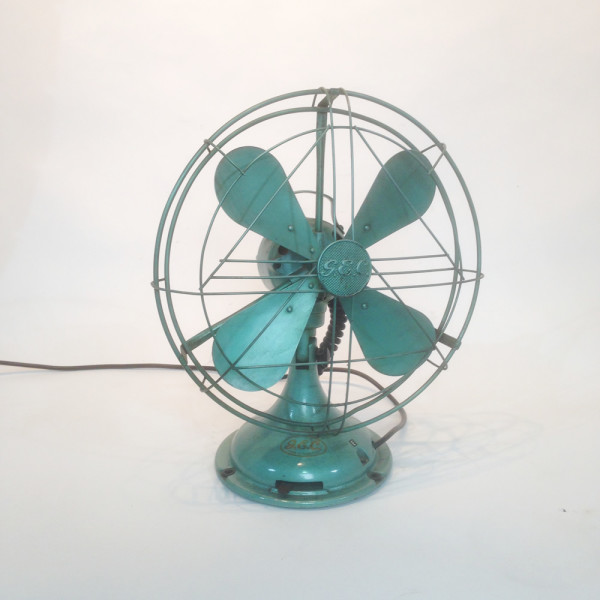 1: Vintage industrial desk fan - Green