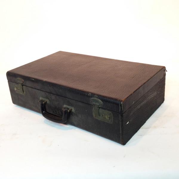 5: Grey Leather Suitcase