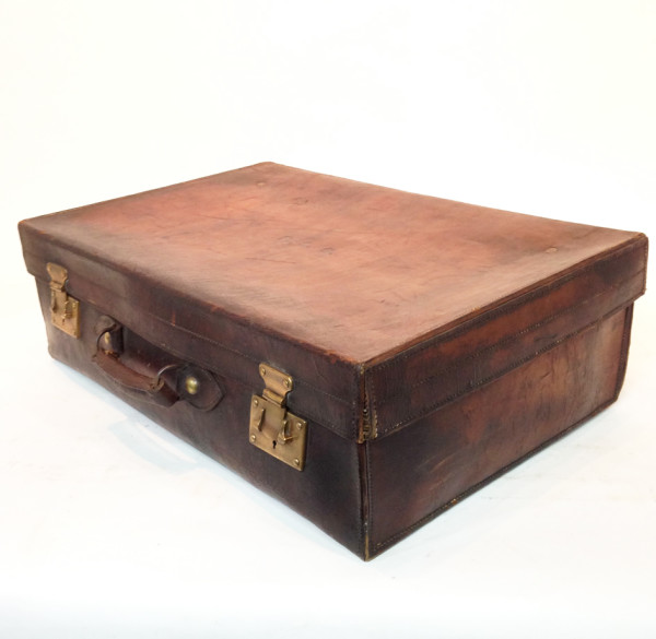 3: Dark Brown Stained Leather Vintage Suitcase