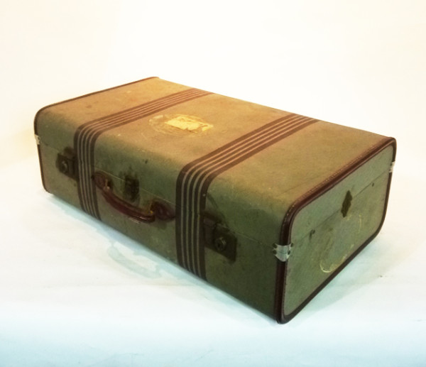 2: Green with Brown Stripes Suitcase