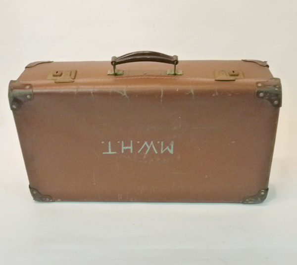3: Light Brown Leather Suitcase with Initials