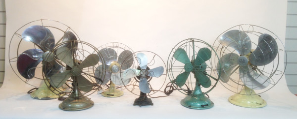2: Vintage industrial desk fan - Green