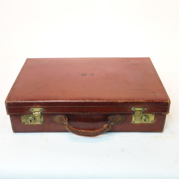 5: Brown Leather Suitcase with Initials