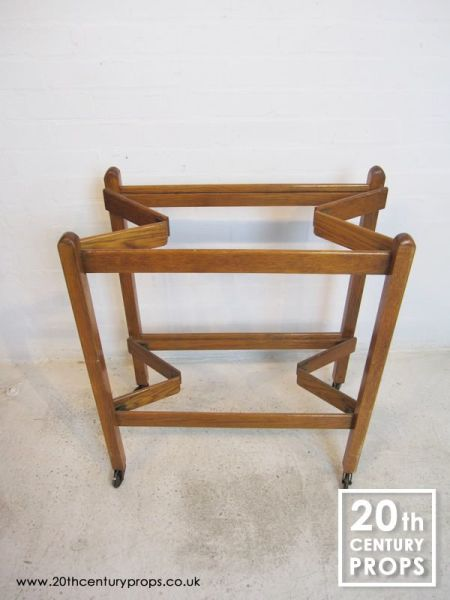 1: Folding oak 2 tier hostess trolley